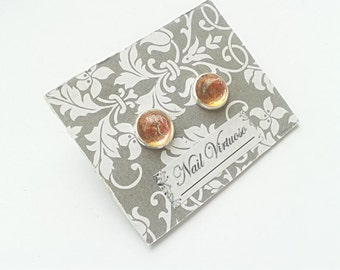 Gold Glitter Earring Studs - Nail Polish Earrings - 10mm Cabachons - Lead and Nickel Free - Silver Plated Brass Earrings