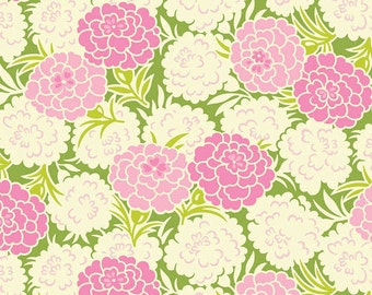 Heather Bailey, Up PARASOL COLLECTION, 1 Yard of Fabric, Mum Toss in Green, from Free Sprit/ Westminster Fabrics