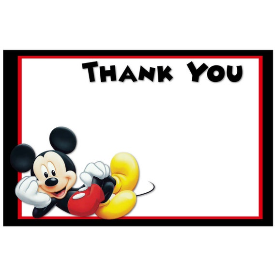 printable mickey mouse thank you cards digital mickey mouse