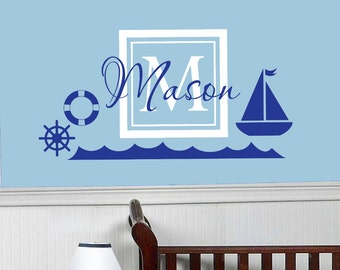 Large Nautical Nursery Wall Decals, Boat Decal,Nautical Decal, Monogram Decal,Kids Room Decal,Decal for kids,Sail, Helm Decal, Ship decal