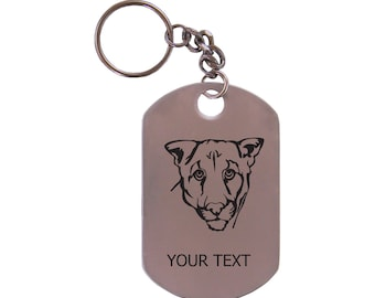 Personalized Engraved Cougar Stainless Steel Dog Tag Keychain