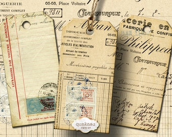 Ephemera Tags 2 - Instant Download - Digital Collage Sheet - Printable Tags - Digital Cards - Vintage Tags - atc - aceo - vintage cards