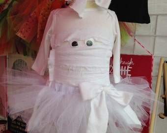 Babies and Toddler Mummy Halloween Costume with Tutu and Hair Bow
