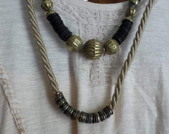Lot of 2 Brass BoHo Necklaces