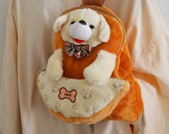 Backpack bag,Kids Backpack ,Dog ,Prints, Soft Velour