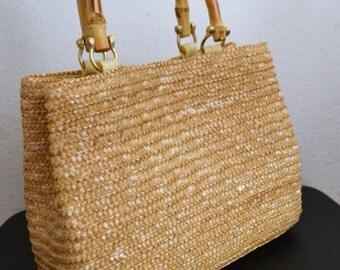 Woven Wicker Purse,bag, Handbag ,Bamboo ,wood handles,tan,summer purse