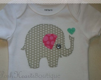ELEPHANT Appliqued Baby Onesie Bodysuit Gray Pink Custom Handmade