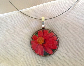 Red Zinnia of Hope Upcycled Coin Necklace
