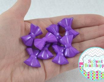 Acrylic Bow Beads, Purple, 8 ct, 19X26mm