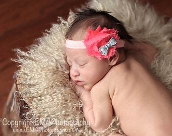 Coral Headband, coral and Silver headband, coral birthday headband, coral infant headband, coral flower headband, coral baby headband