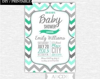 Green Mint and Grey Baby Shower Invitation Chevron DIY Printable (NO)