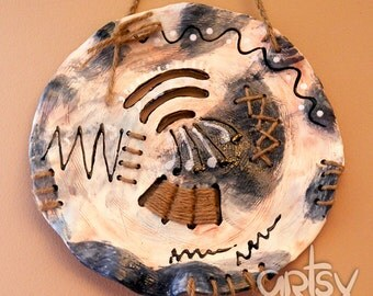Contemporary Ceramic Wall Hanging Clay Wall Art Rustic Pottery Decor - blue tone with aboriginal elements