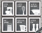 Funny Kitchen Art Print Set (mixer, whisk, colander, grater, measuring cup, spices) Set of 6 Art Print (Featured on Blackboard)