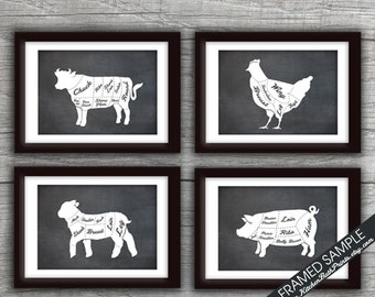 Beef, Chicken, Lamb and Pork (Butcher Diagram Series B) - Set of 4 - Art Prints (Featured Vintage Chalkboard) Kitchen Prints