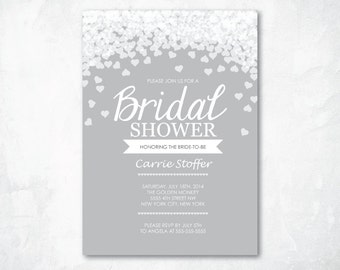 Printable Bridal Shower Invitation - GRAY FALLING HEARTS Bridal Shower invitation - Digital file