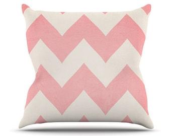 Blush Pink Lemonade Pink Chevron Print Throw Pillow Catherine Mcdonald Kess Inhouse