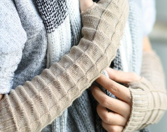 Light Brown  Long Hand-knitted  Gloves  Wrist Warmers  Arm warmmers