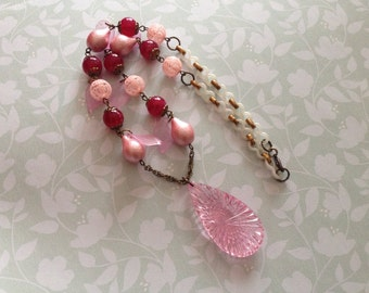 Pink acrylic beaded necklace salvaged repurpose beaded necklace boho chic necklace summer jewelry