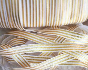 5 yards -White & Gold foil print FOE - 5/8 Fold Over Elastic - Foldover Elastic - printed FOE- Elastic by the yard - Shiny Elastic - DIY