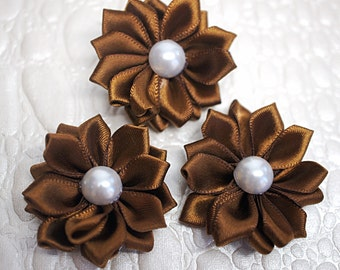 "3 Brown 1.5"" Satin Flowers w/ Pearl Center - Petite Satin flower - Satin Ribbon Flower - Fabric Flower - wholesale flowers"