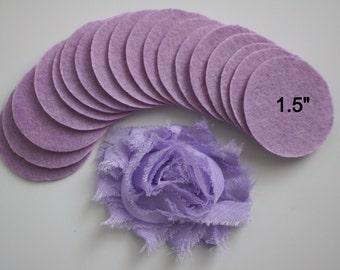 """25 Lavender Felt 1.5"""" Circles - 1.5"""" Felt Circles - Flower Backing - Lavender Felt Circles"""