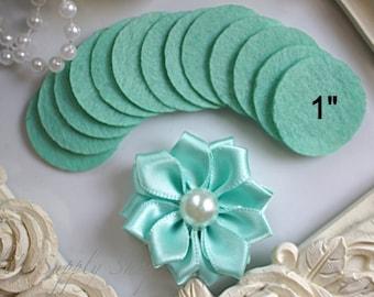 "25 Aquamarine Felt 1"" Circles - 1"" Felt Circles - Flower Backing - Aqua felt Circles - Mini felt circles - felt circle pads for Headbands"