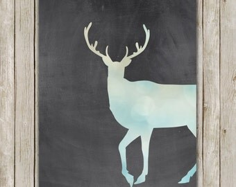 8x10 Deer Art Print, Deer Printable Art, Bokeh Chalkboard Print, Holiday Poster, Nursery Wall Art, Home Decor, Instant Digital Download