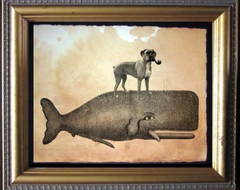 Boxer Dog Riding Whale - Vintage Collage Art Print on Tea Stained Paper - Vintage Art Print - Vintage Paper