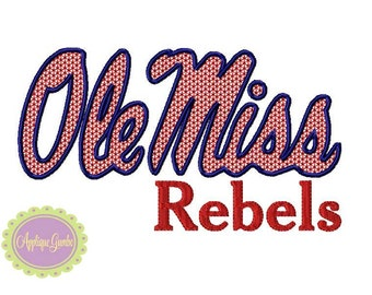 Ole Miss Rebels Motif Stitch Embroidery  Design