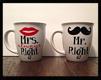 VINYL DECAL ONLY  for Mr. Right & Mrs. Always Right Coffee Mug s
