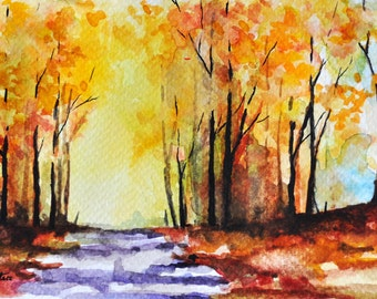 ORIGINAL Watercolor Painting, Postcard Sized Art,  Autumn Road, Colorful Painting 4x6 inch