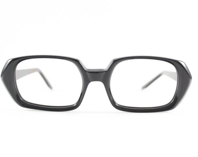 60s Vintage Eyeglasses | 1960s Black Horn-Rimmed Glasses | NOS Eyeglass Frame | Deadstock Eyewear - Harlequin