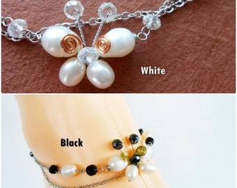 Freshwater Pearl Butterfly and Silver Chains Anklet, Chain Jewelry Handmade (JA1023)
