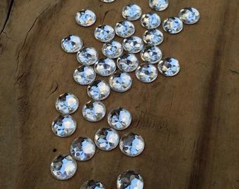 50 Crystal Rhinestone Cabochons, 12mm, Acrylic Rhinestone, 12mm Cabochon, No Hole