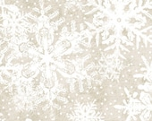 Christmas Fabric/White Snowflakes and Dots on Gray/Quilting, Clothing,Crafts/Holiday Sewing Material/Fat Quarter/Half Yard/1 Yard