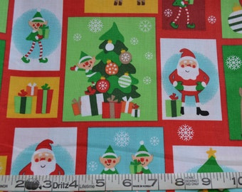 Christmas Fabric, Old Saint Nick, Cotton Material, A.E. Nathan - Santa, Reindeer, Elves, Snowflakes - Fat Quarter, Half or By The Yard