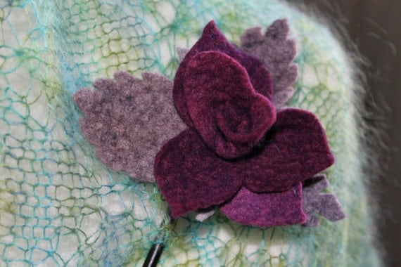 hand dyed felt flower wooden shawl pin