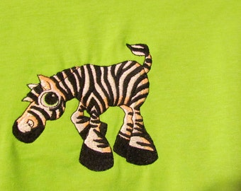 Medium lime green t-shirt with embroidered zebra