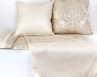 LUXURY COLLECTION: Soft and Romantic Bed Runner with Decorative Pillows, Cream Damask Bed Runner and Toss Pillows, Free Shipping BRS101