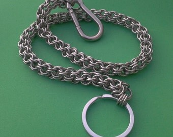 Wallet Chain / Key Chain, Inverted Roundmaille,  Stainless Steel Chainmaille / Chainmail