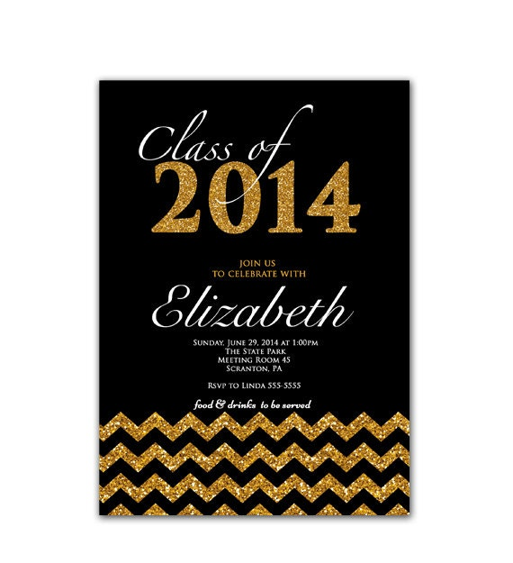 class of 2015 graduation party invitation gold by