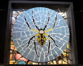 Orb Weaver Spider in Web Mosaic Wall Art