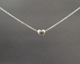 Tiny, Cute, Mini, Heart, Silver, Necklace, Modern, Minimal, Dainty, Love, Jewelry, Birthday, Friendship, Sister, Gift, Jewelry