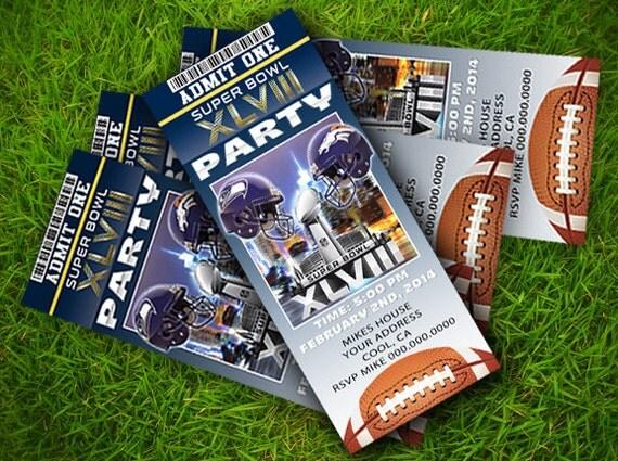 Masterpeace Design Super Bowl 2014 Invitation Ticket Style Set – Super Bowl Party Invitation Template