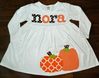 Fall Dress-Pumpkin Dress-Pumpkin Appliqué Dress-Toddler girl dress-Personalized pumpkin Dress