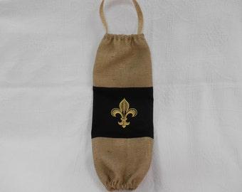 Plastic Bag Holder, Grocery Bag Dispenser, Burlap and Black with embroidered Fleur de Lis