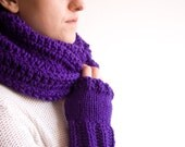 Infinity Scarf with FREE Fingerless Gloves, Purple Crochet Cowl Scarf, Dark Magenta Winter Hooded Cowl for him or her, ohtteam gray white
