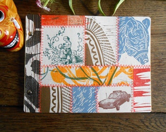 Notebook  // journal //  Woodblock Prints stitched together
