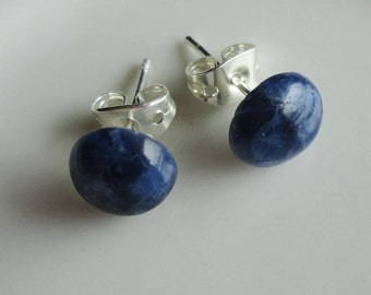 Sodalite Natural Stone Round 8mm Post Earring