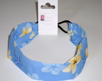 Handmade Hair Accessories Light Blue Floral Headband Hawaiian Headband Women Headband No-slip Headband